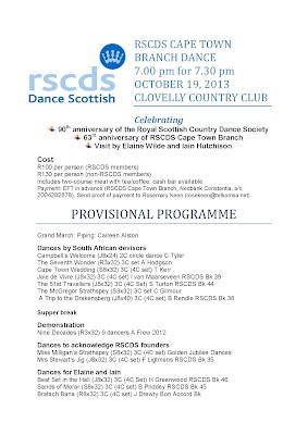 RSCDS CAPE TOWN BRANCH DANCE 7.00 pm for 7.30 pm OCTOBER 19, 2013 CLOVELLY COUNTRY CLUB
