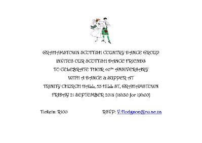 Grahamstown Anniversary dance invitation