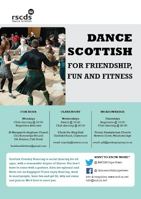 Flyer with details of Scottish Country Dance Clubs in Fish Hoek Meadowridge and Claremont